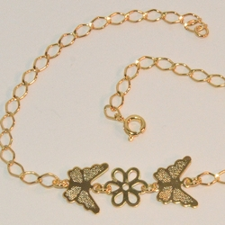 "1-0016-e6 Butterfly Anklet.  10"" length and 4mm links."