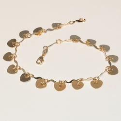 1-0017-e3 Heart Charms Anklet