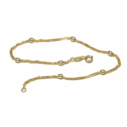 1-0018-f2 18kt Brazilian Gold Layered Singapore Link Beaded Anklet