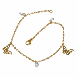 1-0020-e12 Gold Plated Butterfly anklet