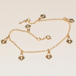 1-0023-e3 Heart Charms Anklet
