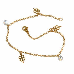 "1-0024-f1 Gold Plated Clover and CZ Anklet, 9.5"" length,"