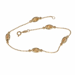 1-0030-D1 Oval Beaded Anklet