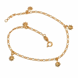 "1-0040-e9 Sun Charms Anklet. 10"", 2mm link, 6mm suns."