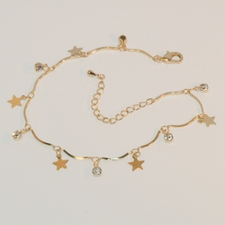 """1-0043-e7 Gold Plated Charms Anklet. Stars and Crystals. 9""""-10"""" adjustable."""