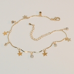 "1-0043-e7 Gold Plated Charms Anklet. Stars and Crystals. 9""-10"" adjustable."
