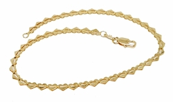 "1-0046-g1 18kt Brazilian Gold Filled Heart Links anklet. 10"" length, 4mm hearts."