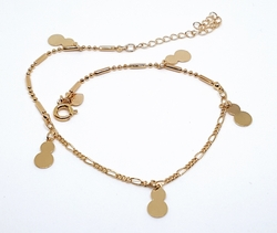 "1-0048-f10 18kt Brazilian Gold Plated Double Bubble Charms Anklet. 9"" to 10.5"" adjustable length."