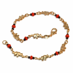 "1-0049-e9 Black and Red Bead Elephants Anklet.  10"", 6mm elephants."