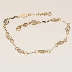 1-0054-e3 Leaf Design Anklet