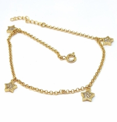 1-0054-f5 18kt Brazilian Gold Layered Star Charms Anklet