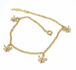 1-0054-f52 18kt Brazilian Gold Layered Butterfly Charms Anklet