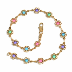 "1-0055-e9 Multicolored Flowers Anklet. 10"", 7mm flowers."