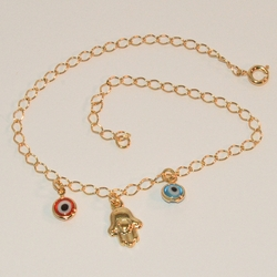 "1-0061-e6 Evil Eye and Hamsa Anklet. 10"" in length with 3mm link chain."
