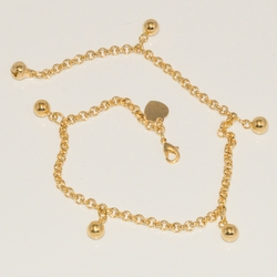1-0064-D1 Gold Plated Charm Anklet