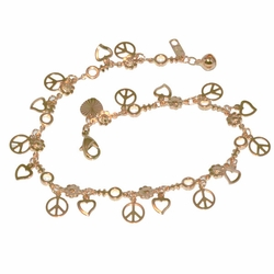 1-0067-D1 Peace Charms Anklet
