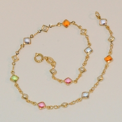"1-0069-e6 Multicolor Cubes and Pearls Anklet. 10"", 5mm cubes."