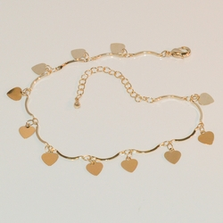 """1-0070-e7 Gold Plated Charms Anklet. Hearts.  9""""-10"""" adjustable."""