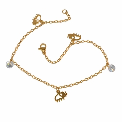 "1-0070-f1 Gold Plated Elephant and CZ Anklet, 9.5"" length,"