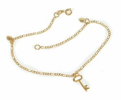 1-0075-D1 Ladies Key Heart Anklet