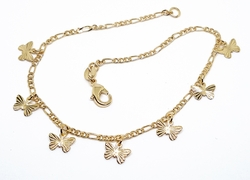 "1-0077-f10 18kt Brazilian Gold Layered Butterfly Charms Anklet. 10"", 9mm butterfly"