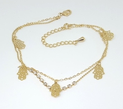 1-0077-f6 18kt Brazilian Gold Layered hamsa Hand and Crystals Double Link anklet.