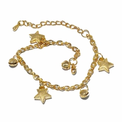 1-0090-f2 18kt Brazilian Gold Layered Stars and Bells Charm Anklet