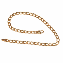 "1-0094-e11 Gold Layered Open Curb Link Anklet. 10.5"", 5mm links."