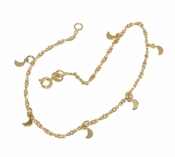 1-0099-D1 Ladies Moon Charms Anklet