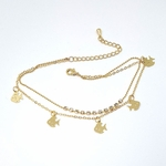 1-0100-f5 Gold Layered Fish and Crystals Anklet