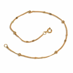 """1-0107-e9 Gold Plated Gold Beads Anklet. 10"""", 4mm balls."""