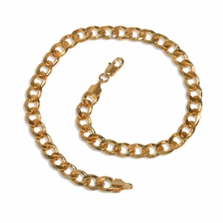"1-0109-e9 Gold Plated Curb Link anklet. 10"", 6mm wide."