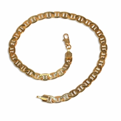 "1-0110-e9 Gold Plated Flat Marine Link Anklet. 10"", 6mm wide."
