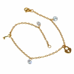 1-0114-e12 Gold Plated CZ and Key Lock Anklet