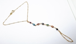 1-0125-f10 18kt Brazilian Gold Filled Evil Eye anklet with Wrap around Toe Extension. 9.25""