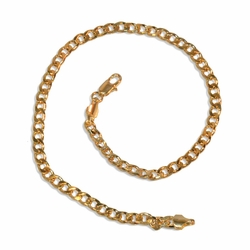 """1-0127-E19 Gold Plated Curblink anklet. 4mm wide, 10"""" in length."""