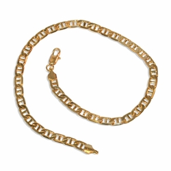 "1-0127-e9 Gold Plated Flat Marine Link anklet. 10"", 4mm wide."
