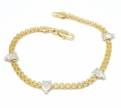 1-0404-f5 18kt Brazilian Gold Layered Two Tone Bismark Owl Bracelet