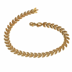 "1-0502-f211 Gold Layered leaf Design Bracelet, 7.5"" length, 6mm wide,"