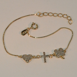 "1-0407-e6 Heart Cross Clover Box link Bracelet (7""-8"" adjustable length)"