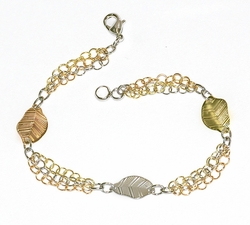 1-0409-D1 Three Tone Leaf Bracelet