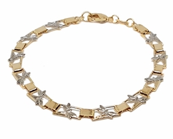 1-0410-f9 18kt Brazilian Gold Layered Two Tone Dragonfly Bracelet. 7.5 inches, 5mm wide.