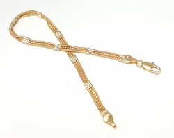 "1-0427-f6 18kt Brazilian Gold Layered Delicate Triple Bracelet for ladies. 8"" inches in length, 4mm wide."