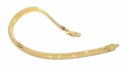 "1-0428-f10 18kt Brazilian Gold Layered 6mm Haring Bone. 8"" Bracelet"