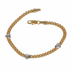 "1-0432-f1 Gold Filled Bismark and Heart Two tone Bracelet, 7.5"" length,"