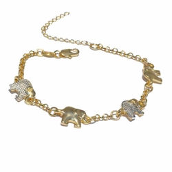 1-0438-f3 18kt Brazilian Gold Filled Two Tone Elephant Bracelet.