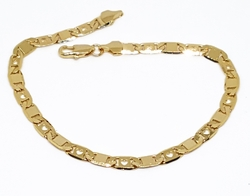 "1-0448-f10 18kt Brazilian Gold Layered Flat Marine Link with Hearts Bracelet. 7.5"" length, 4.25mm wide."