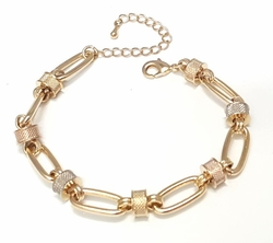 """1-0449-f6 18kt Brazilian Gold Layered Three Tone Contemporary Link Bracelet. 7.5"""" to 9"""" adjustable length. 8mm links."""