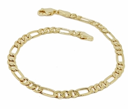 "1-0450-g1 18kt Brazilian Gold Plated Figaro Link Bracelet. 8"" length, 4.25mm wide."