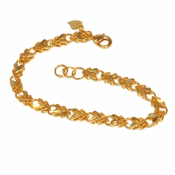 "1-0451-f1 Gold Plated Hearts Bracelet, 7.25"" length, 5mm wide,"